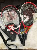 2 TENNIS RACKETS 1 NAMED ROGER FEDERER, 1 DR JUNIOR 23