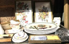 SHELF OF MIXED CHINA, PICTURES, JUGS & KNIVES