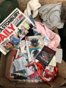 CARTON OF ASSORTED MATERIAL & CARTON OF POP MEMORABILIA INCL; CONCERT PASSES, TICKETS ETC