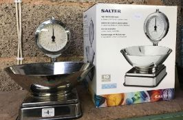 BOXED SALTER HIGH DIAL KITCHEN SCALE IN CLASSIC CHROME & STAINLESS STEEL