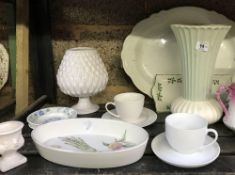 SHELF OF ASSORTED CHINAWARE INCL; 4 DENBY SOUP POTS A/F, 2 MEAT PLATES, CUPS & SAUCERS ETC