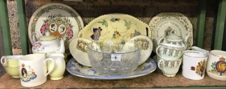 SHELF OF ASSORTED CHINA INCL; CORONATION MUGS, CUP & SAUCERS & TEA POTS, BLUE & WHITE MEAT PLATE