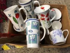CARTON OF CHINA MUGS & ASSORTED PICTURE FRAMES
