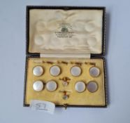 A BOXED MOP CUFFLINK & STUD SET IN 9CT