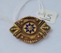 A Victorian gilt & enamel target brooch with central pearl - 8.3gms