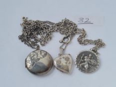 Two silver lockets, chains etc.