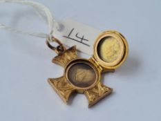 A Victorian unusual Maltese cross hair locket with opening panel set in gold - unmarked - 5.9gms