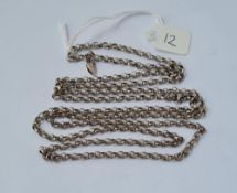 "A silver belcher link guard chain - 36"" long"