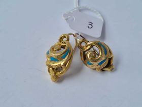 PAIR OF ANTIQUE VICTORIAN 15CT EARRINGS WITH FRENCH HINGED EAR FITTINGS WITH TURQUOISE ENAMEL