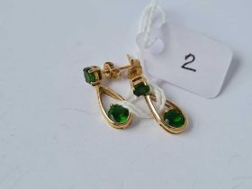9ct articulated drop earrings with stud mounts set with green stones