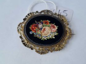 A large micro mosaic Victorian brooch in silver frame (AF)