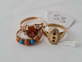 Three gems set rings 9ct (sizes K1/2 M P ) - 6.8 gms
