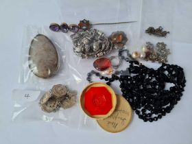 A mixed bag of assorted costume jewellery including French jet beaded necklace, Scottish stick