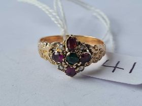 A Victorian gold cluster ring set with Almandine garnets and pearls size R - 2.5 gms