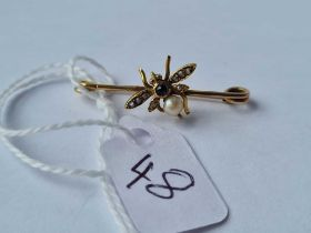 A Edwardian sapphire and pearl insect brooch in 15ct gold (tested)