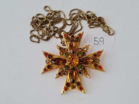 A large (6cm)stone set pendant brooch on long RG muff chain