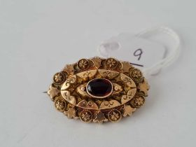 A attractive antique mourning brooch/locket with central garnet set in gold