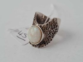 a large silver and opal abstract ring London 1970 size Q