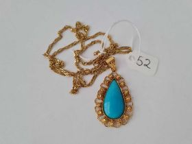 A FINE 22CT GOLD TURQUOISE pendant (5cm long) on long 22ct gold chain 18.2g