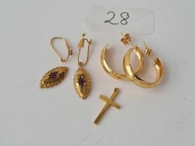 Two pairs of 9ct earrings and a small cross 3.6g inc