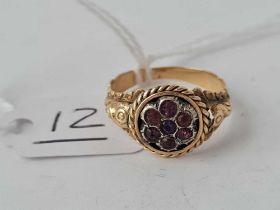 A antique fancy gold and gem set cluster ring size 0 -2.6 gms