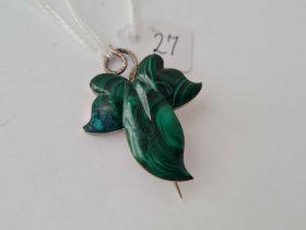 A silver and Malachite leaf brooch