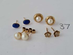 Four pair of 9ct ear studs