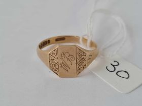 Gents 9ct signet ring size W 3.2g