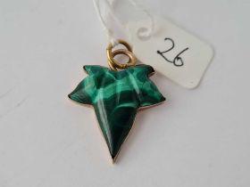 A gold and Malachite leaf pendant