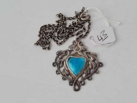 ART NOUVEAU SILVER AND ENAMEL PENDANT (POSSIBLY CHILD AND CHILD ) AND CHAIN