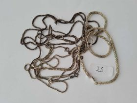Six silver neck chains 41g