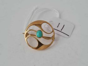 MURRLE BENNETT ART NOUVEAU 15 CT GOLD AND TURQUOISE BROOCH FULLY MARKED
