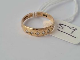 A five stone diamond gypsy ring 18ct gold with Chester hallmark size M - 1.8 gms