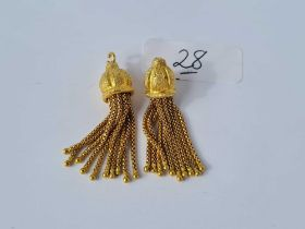 A pair of Victorian 15ct gold tassels