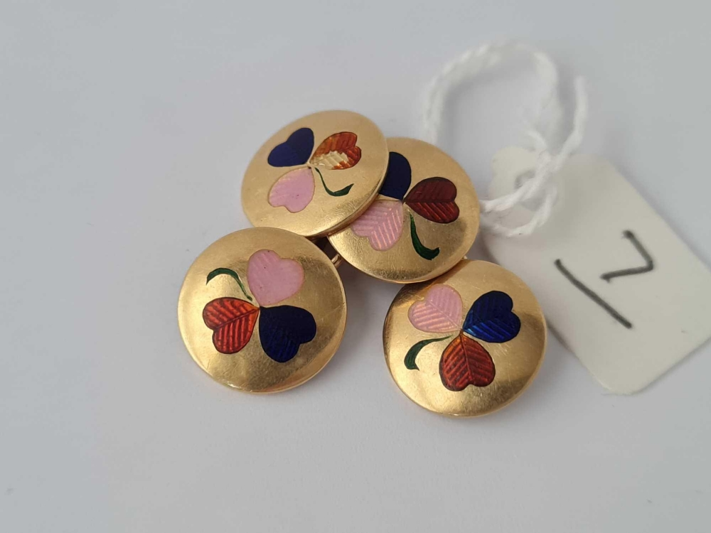 A pair of 18ct gold and enamel clover leaf decorated cufflinks - 10.2 gms