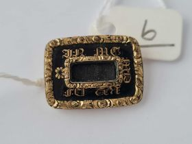 A Victorian gold and enamel memorial brooch dated 1838 pin missing