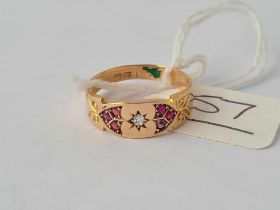 A Victorian fancy ruby and diamond gypsy ring 15ct gold hallmarked for 1891 size N