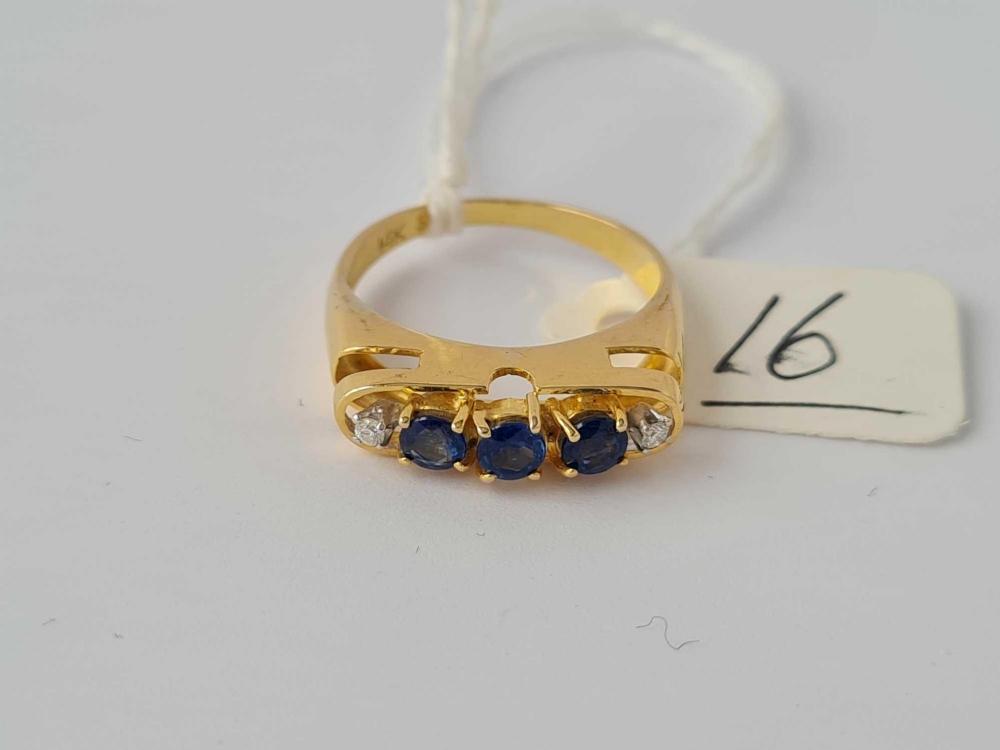 Sapphire & diamond 5 stone 14ct gold ring size N 3.4g inc