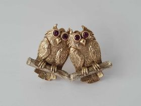 PAIR OF LARGE 9CT OWL EAR CLIPS WITH STONE SET EYES 18g INC