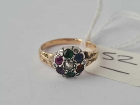 A PRETTY ANTIQUE DEAREST RING SET WITH DIAMONDS AND GEM STONES IN GOLD AND SILVER SIZE H - 3 GMS