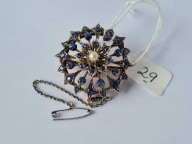 An attractive antique gold & silver sapphire and pearl circular brooch 13.5g inc