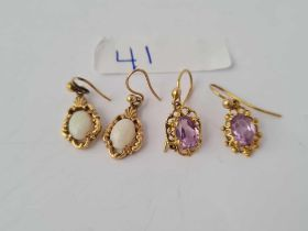 Two pairs 9ct earrings one amethyst and one opal