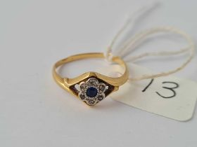 A small 18ct sapphire & white stone ring (shank worn) 1.8g