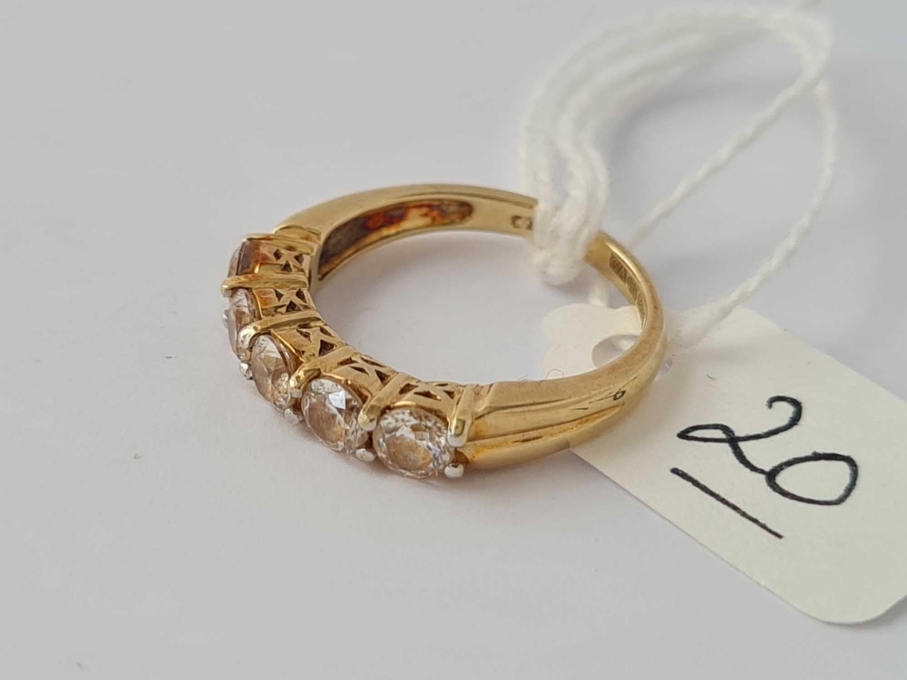 A 9ct 5 stone ring size K 2.9g inc - Image 2 of 2