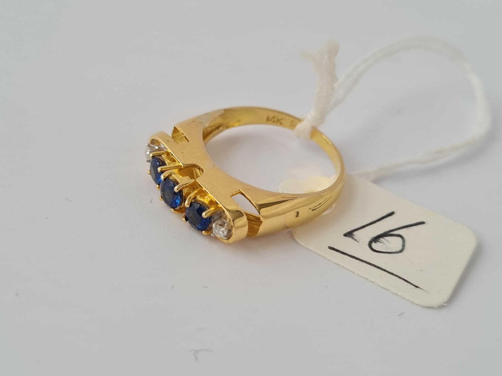 Sapphire & diamond 5 stone 14ct gold ring size N 3.4g inc - Image 2 of 2