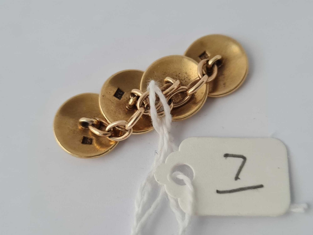 A pair of 18ct gold and enamel clover leaf decorated cufflinks - 10.2 gms - Image 3 of 3