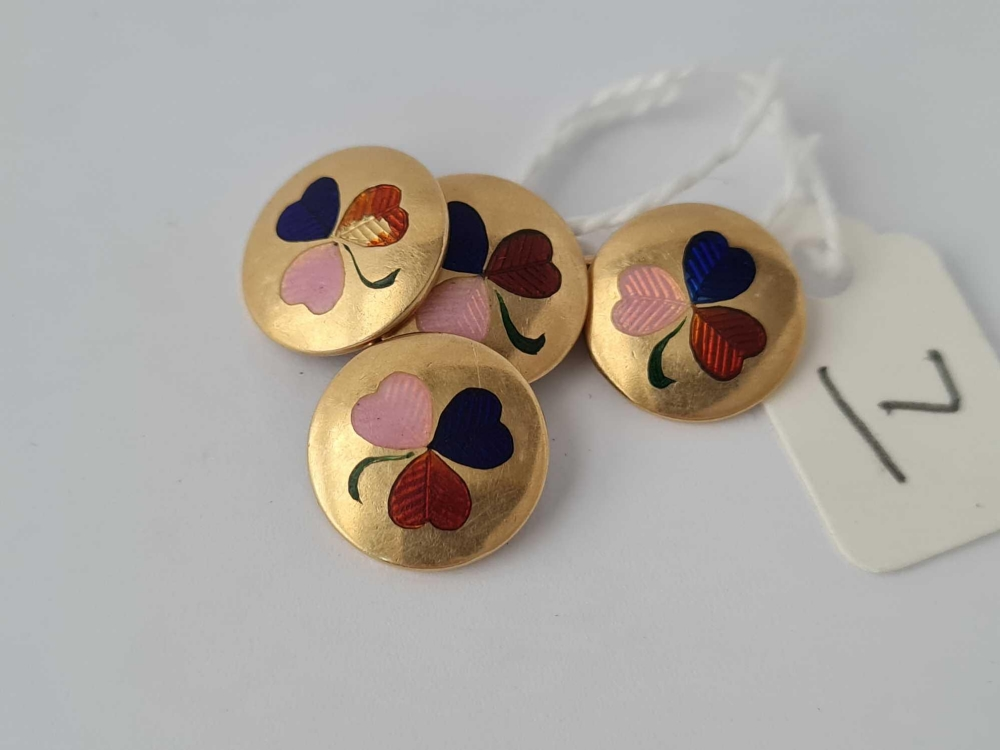 A pair of 18ct gold and enamel clover leaf decorated cufflinks - 10.2 gms - Image 2 of 3