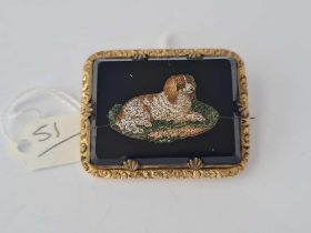 A rare antique micro mosaic dog brooch damage to black background but mosaic in tact