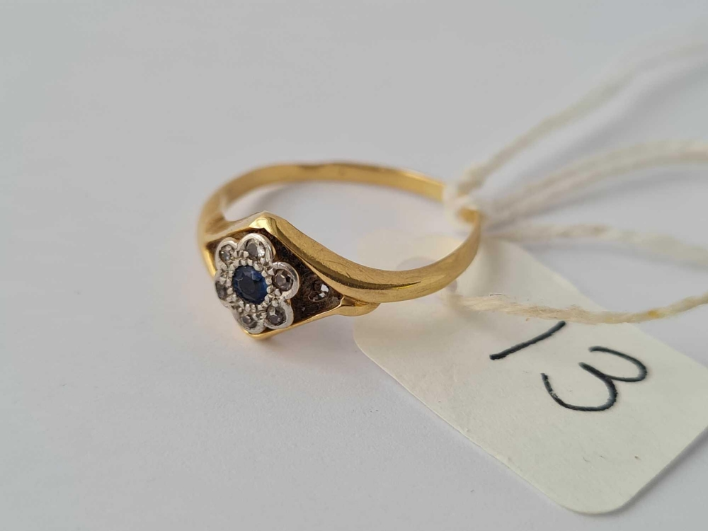 A small 18ct sapphire & white stone ring (shank worn) 1.8g - Image 2 of 2