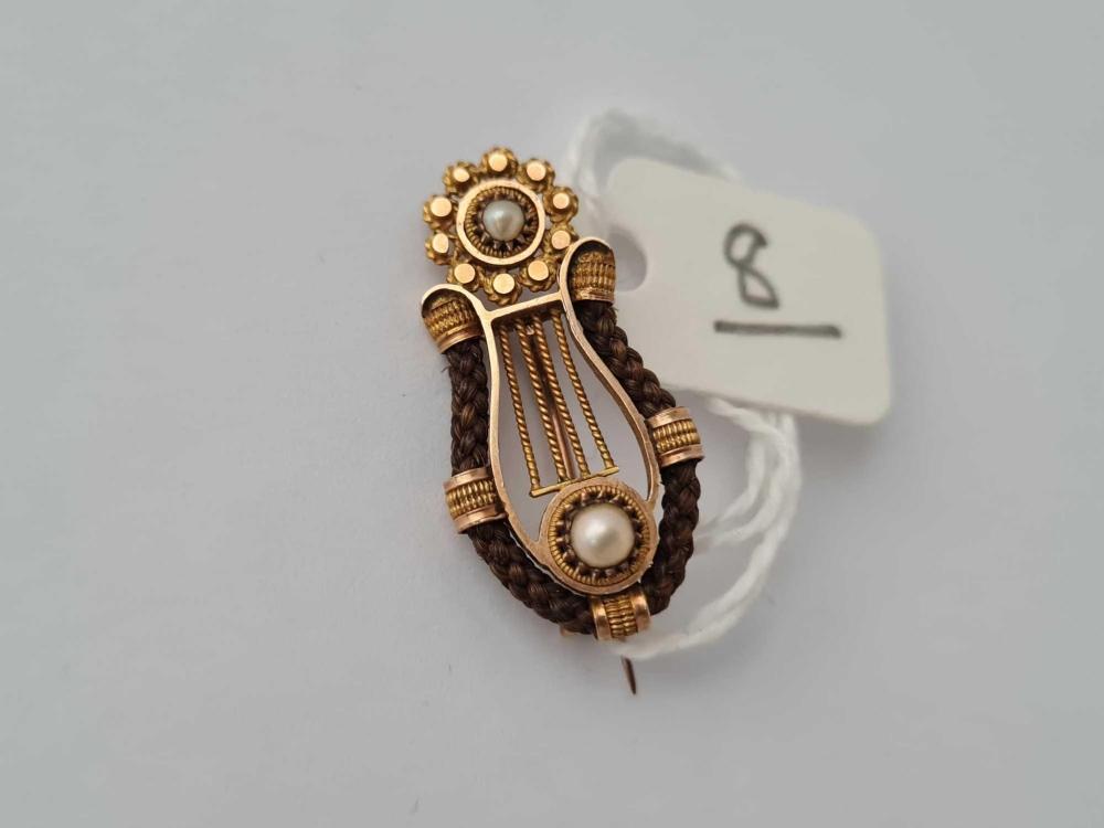 A Georgian Irish style gold pearl and hair heart shaped brooch 1 inch long